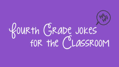 """A purple background with white cursive text that reads, """"Fourth Grade Jokes for the Classroom."""""""