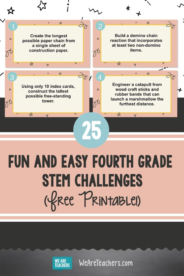 25 Fun and Easy Fourth Grade STEM Challenges (Free Printable!)