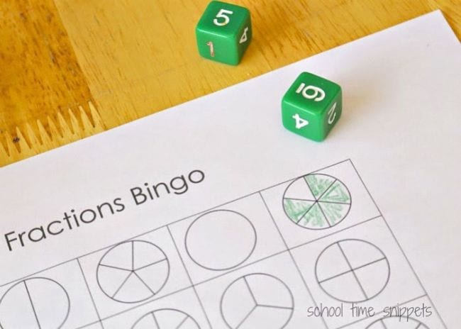 Fraction Games Bingo Schooltime Snippets