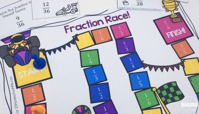 Fraction Games Race 123 Homeschool 4 Me