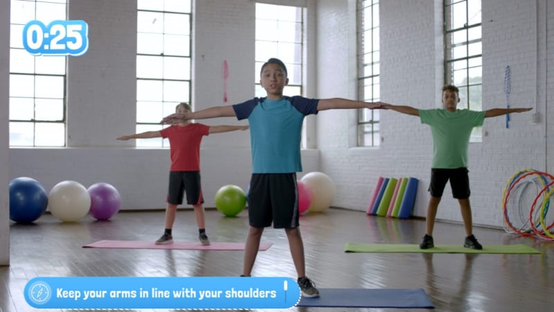 Kids can follow along with this full body workout video.