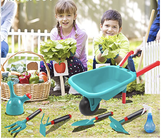 Two kids with gardening tools