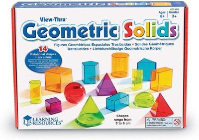 Box of 3-d geometric shapes.