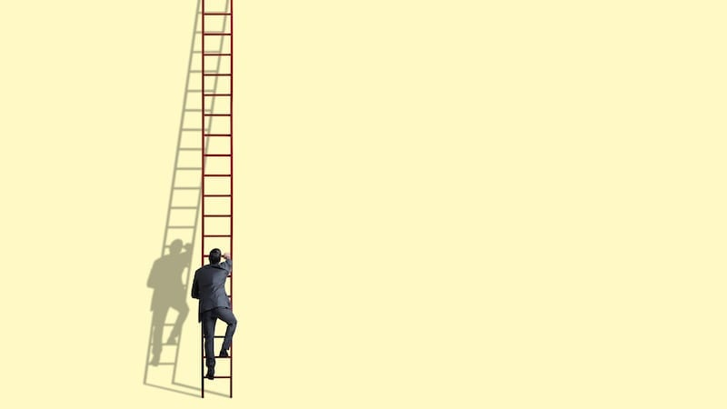 A businessman climbs a tall red ladder against a light yelllow background.