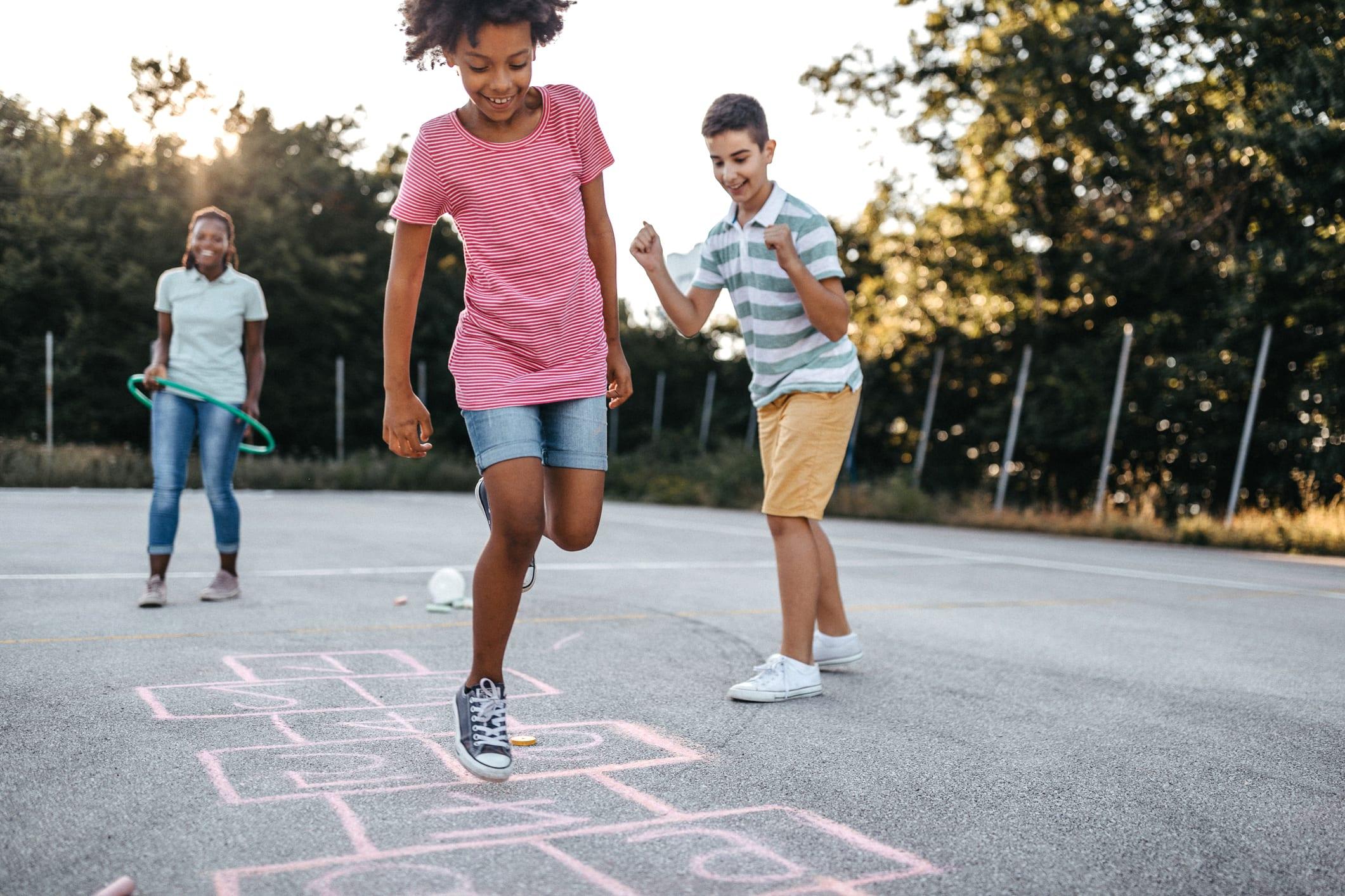 Doing what kids do best, jumping for joy