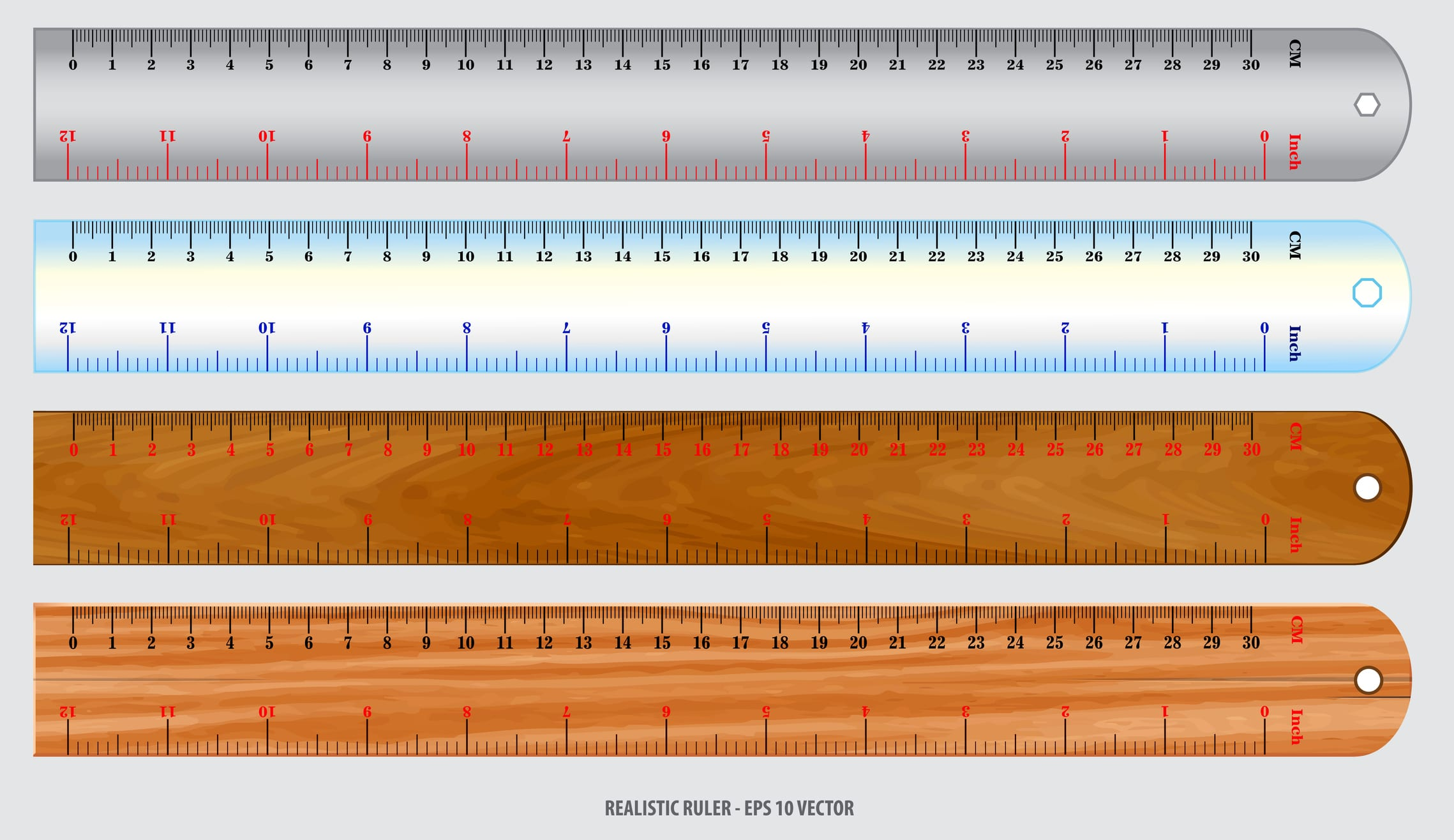 set of realistic metal ruler in metal, plastic and wooden concept.