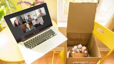 School Video Chat with a Box of Cake in a Chair