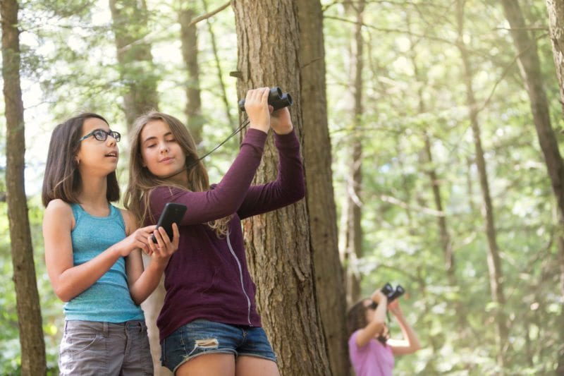 Kids with binoculars