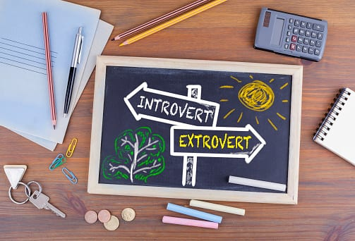 Miscellaneous school items, chalkboard saying introvert and extrovert.