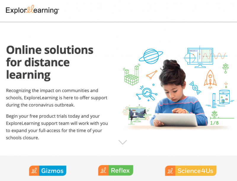 """""""Online solutions for distance learning."""" From explore learning."""