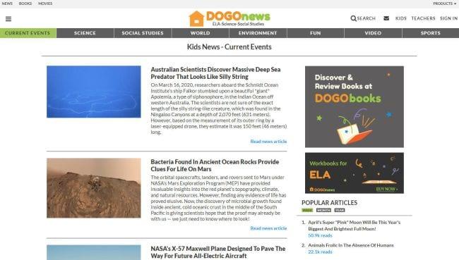 Screen shot of DOGOnews website homepage