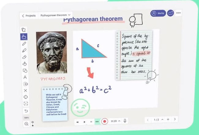 Screen shot of Explain Everything whiteboard app showing information on the Pythagorean theorem