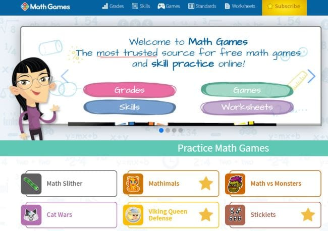 Screen Shot of MathGames homepage showing practice math games for kids (Best Google Classroom Apps)