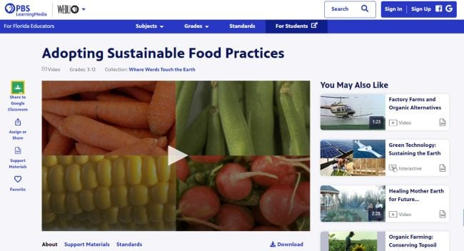 PBS Learning Media screen shot of video on Adopting Sustainable Food Practices