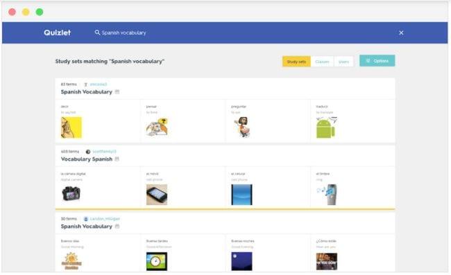 Quizlet screen shot showing Spanish vocabulary flashcards