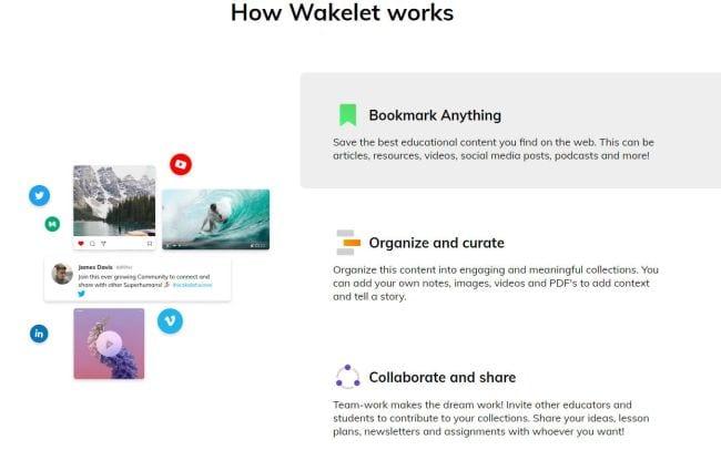 Screen shot explaining of Wakelet works