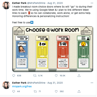 Twitter post from Ester Park includes image of virtual choice doors as breakout rooms on Google Meet