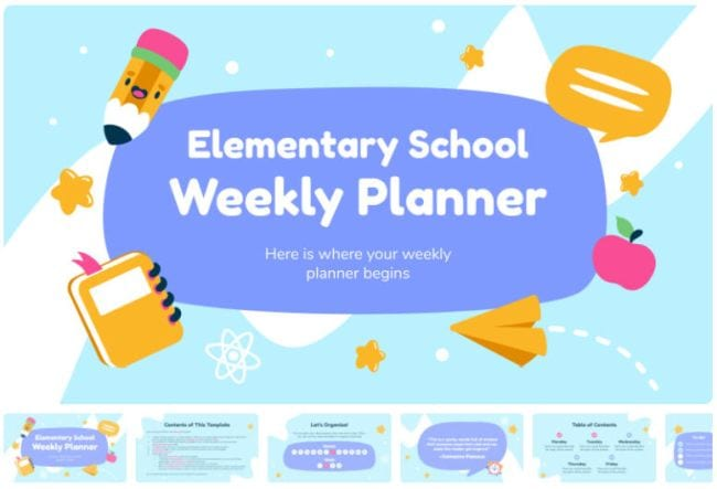 Google Slides Templates Elementary Planner