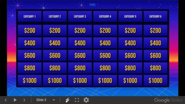Google Slides Templates Jeopardy