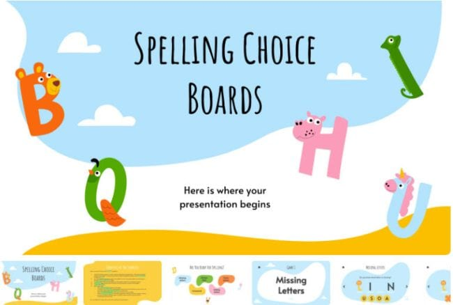 Google Slides Templates Spelling