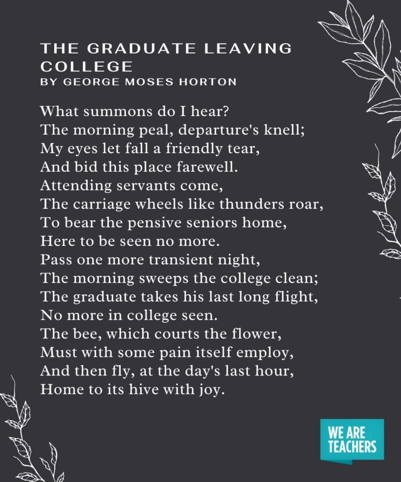 Graduation Poems - The Graduate Leaving College