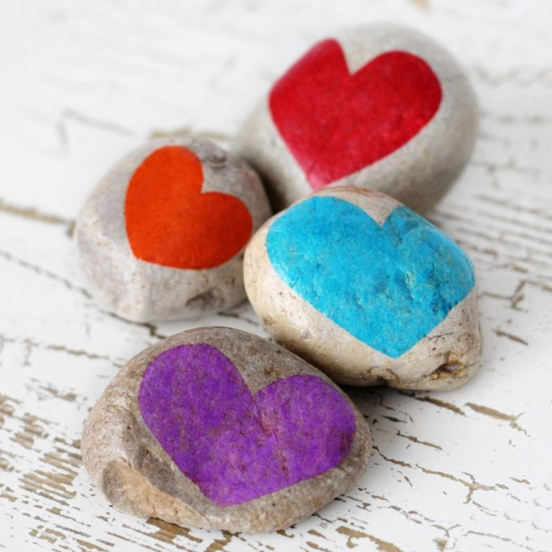 Stones with hearts painted on them -- Gratitude Activities for Kids