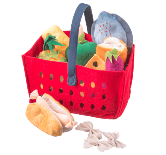 Felt grocery basket filled with felt food items for children
