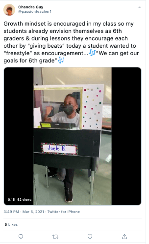 "Growth mindset twitter post by Chandra Guy: ""Growth mindset is encouraged in my class so my students already envision themselves as 6th graders & during lessons they encourage each other by ""giving beats"" today a student wanted to ""freestyle"" as encouragement..."""