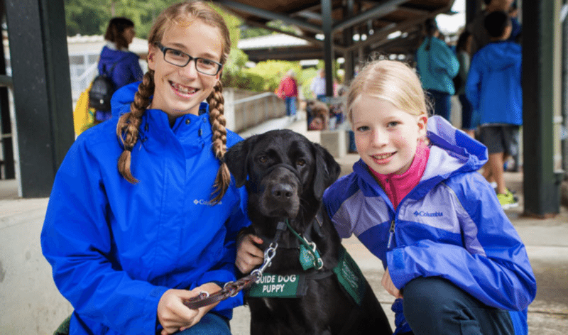 Two girls with guide dog puppy