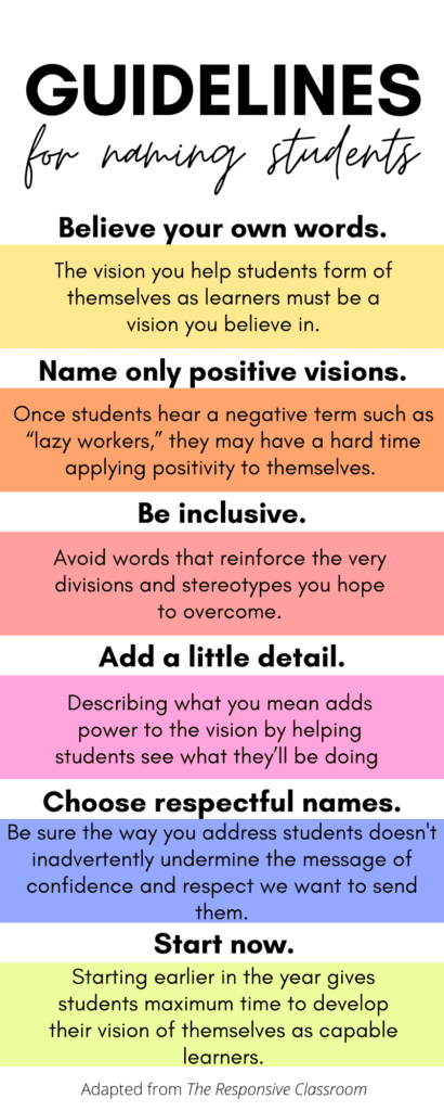 Guidelines for Naming Students Infographic
