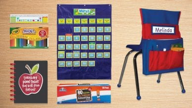 Walmart Teaching Supplies Teachers Need including chair covers, glue, planner, and name tag for desk.