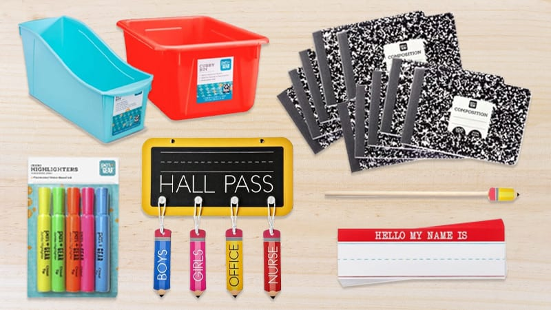 Favorite Classroom Buys for Under $5 at Walmart including composition notebooks, highlighters, and name tags.
