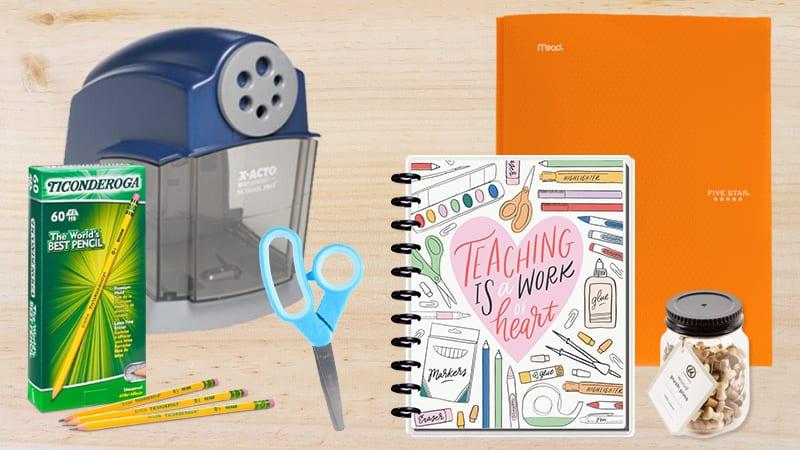 Pencils, scissors, tacks, orange folder, notebook, and pencil sharpener with Walmart rollback deals.