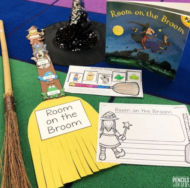 Room on the Broom book with construction paper broom and printable worksheets