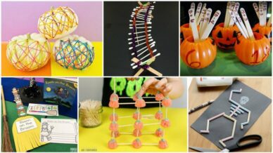 Collage of Halloween Activities for the Classroom