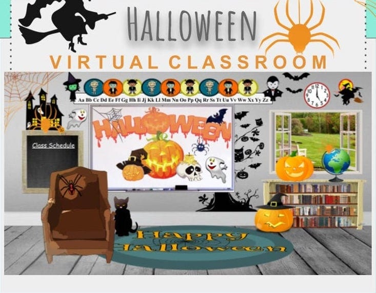 Halloween banner for virtual classroom
