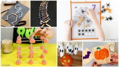 Six separate images of halloween crafts using candy, q-tips, and water bottles.
