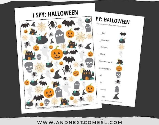 Halloween themed I Spy activity for kids