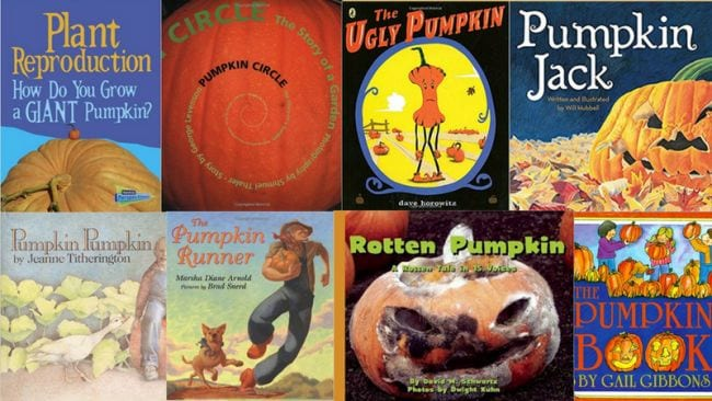 Collage of pumpkin and Halloween themed children's books