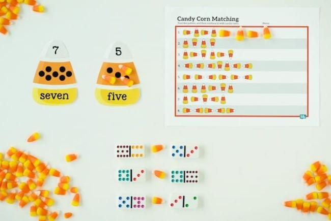 Candy corn themed counting activity with dominos and printable worksheet