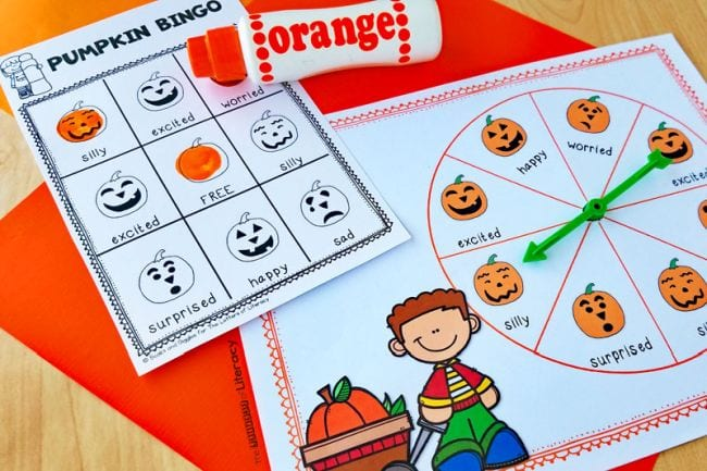 Printable pumpkin bingo game with spinner and orange dot marker