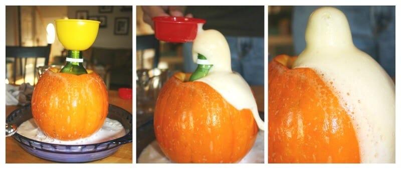 Collage of pumpkin turned into a baking soda volcano erupting (Halloween Activities)