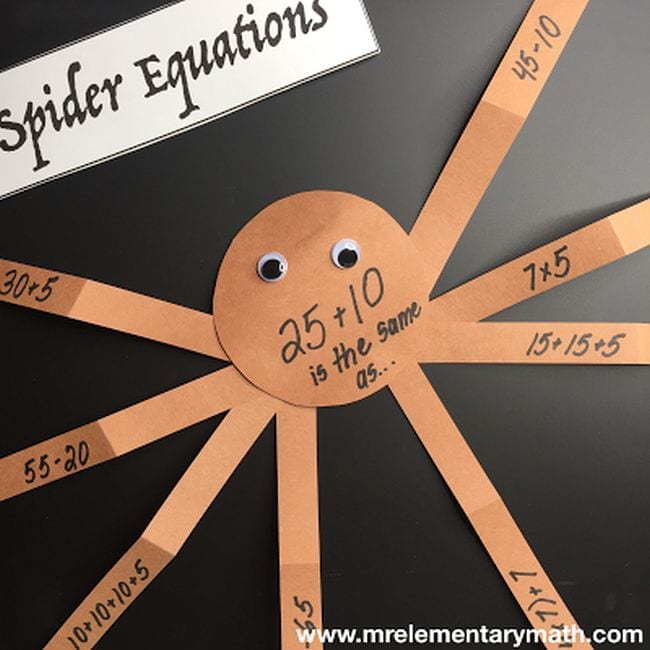 Construction paper spider with equations written on each leg (Halloween Activities)