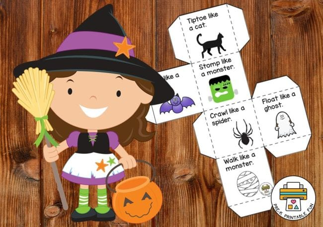 Cartoon witch child next to a printable paper die with movement ideas