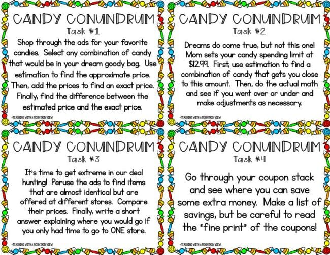 Candy Conundrum tasks cards for comparison shopping candy