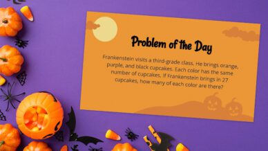 Halloween math problem of the day card on a purple background.