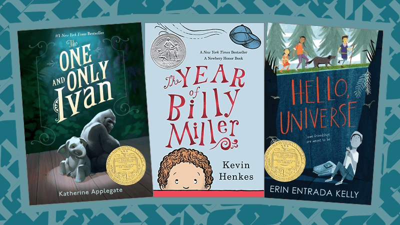 Three Book Covers of Newbery Award-Winning Books That Teach Empathy