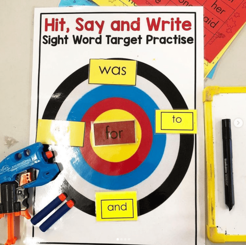 Hit words with foam darts