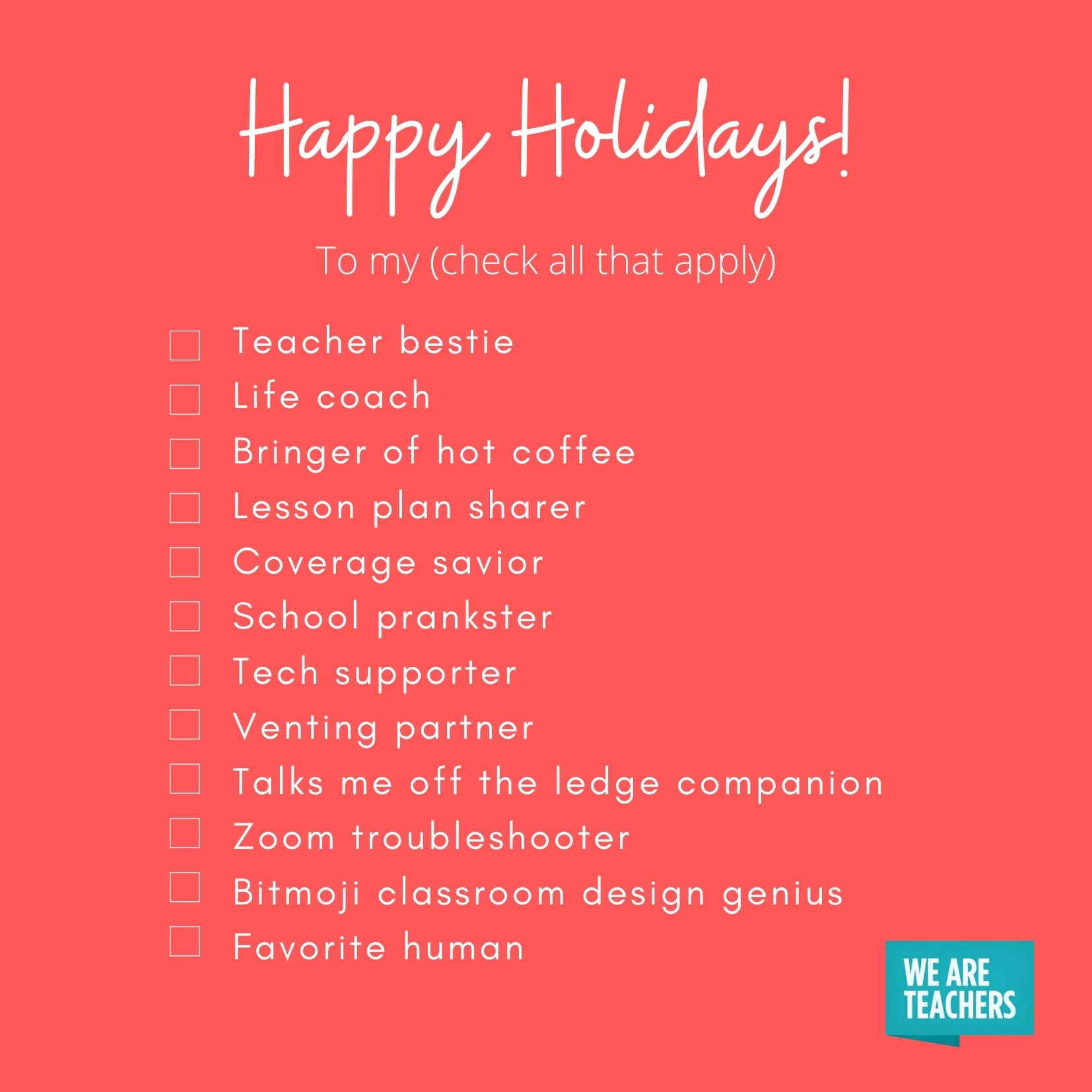 Teacher bestie holiday card