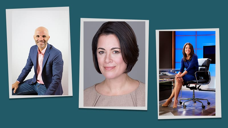 Three headshots of the presenters of the Horace Mann Virtual Speaker Series: Adam Welcome, Nicole Malachowski, and Jean Chatzky